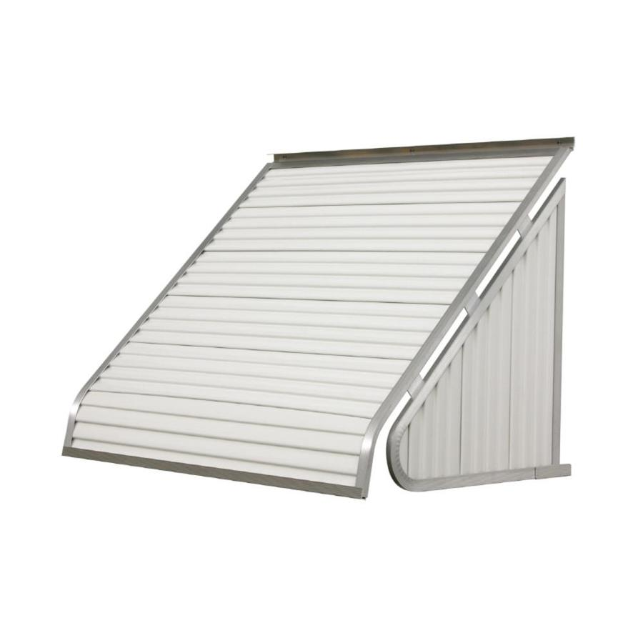 NuImage Awnings 84-in Wide x 24-in Projection White Solid Slope Window Awning
