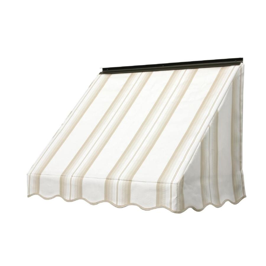 NuImage Awnings 54-in Wide x 24-in Projection Sand Graduated Stripe Slope Window Awning