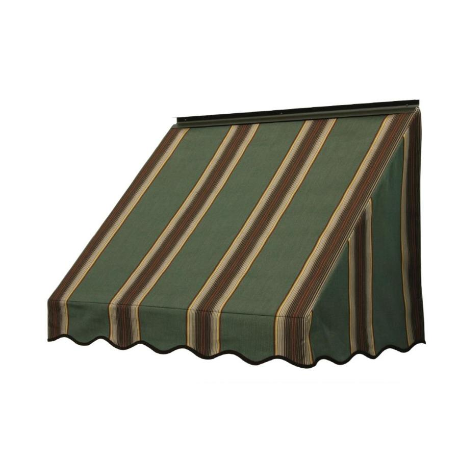 NuImage Awnings 84-in Wide x 18-in Projection Forest Vintage Bar Stripe Slope Window Awning
