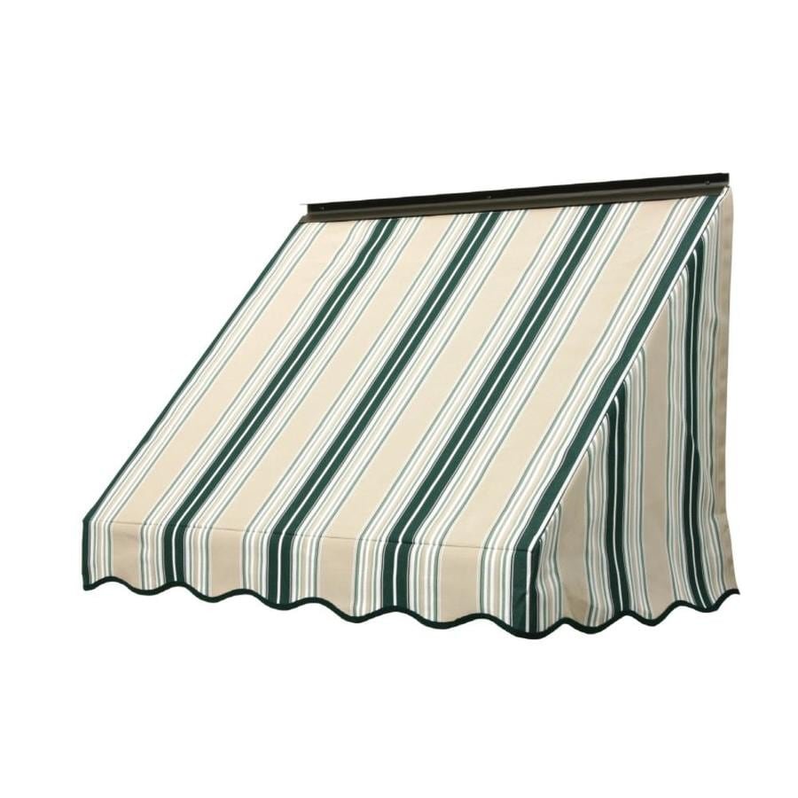 NuImage Awnings 84-in Wide x 18-in Projection Forest Green/Beige/Natural Fancy Stripe Slope Window Awning