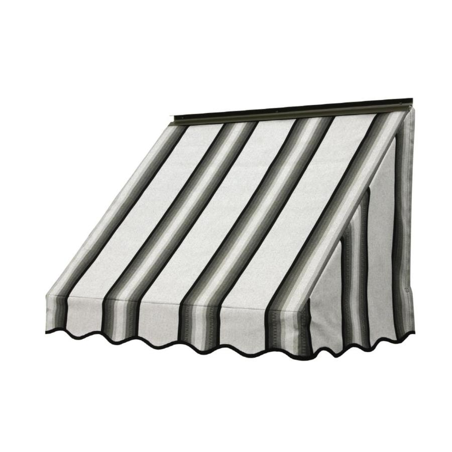 NuImage Awnings 42-in Wide x 24-in Projection Grey/Black/White Stripe Slope Window Awning
