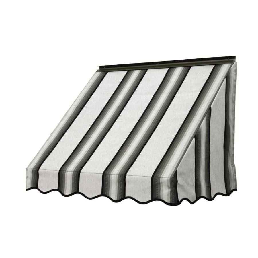 NuImage Awnings 72-in Wide x 18-in Projection Grey/Black/White Stripe Slope Window Awning
