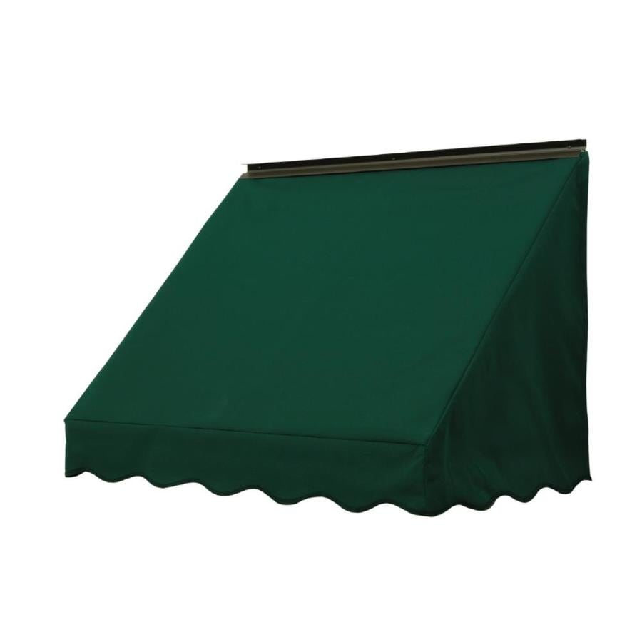 NuImage Awnings 84-in Wide x 18-in Projection Hunter Green Solid Slope Window Awning