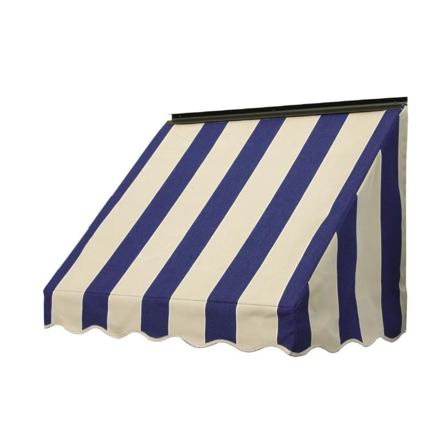 NuImage Awnings 72-in Wide x 18-in Projection Mediterranean/Canvas Block Stripe Slope Window Awning