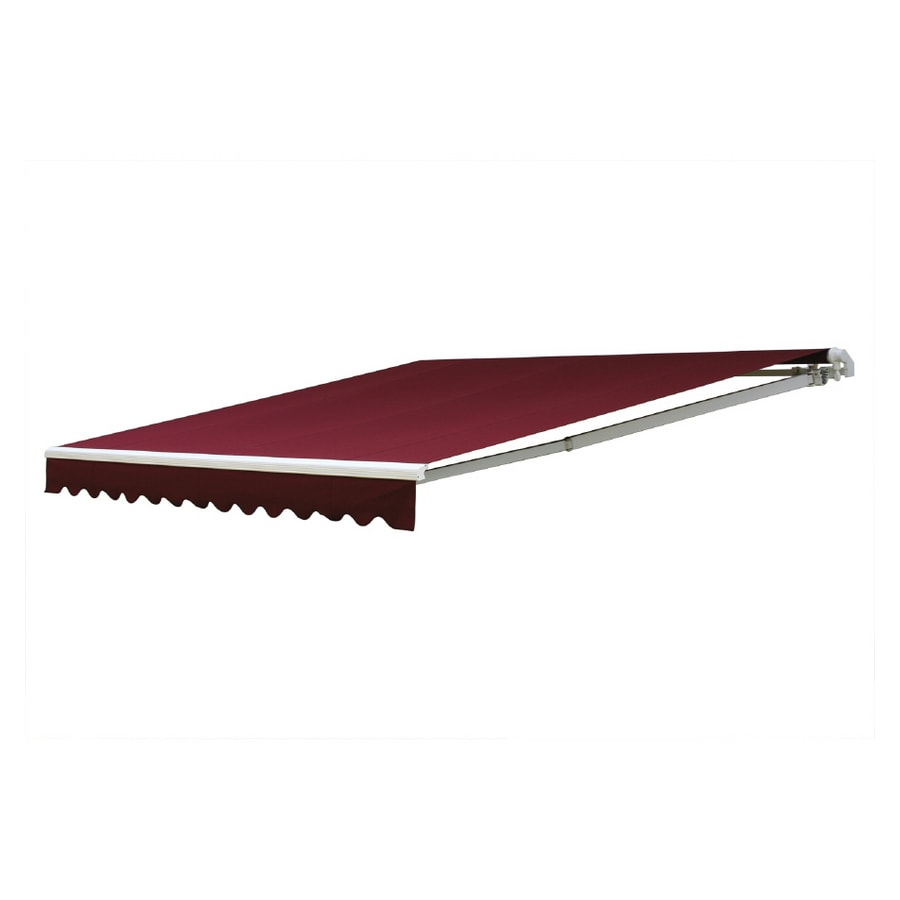 NuImage Awnings 192-in Wide x 120-in Projection Burgundy Solid Slope Patio Retractable Manual Awning