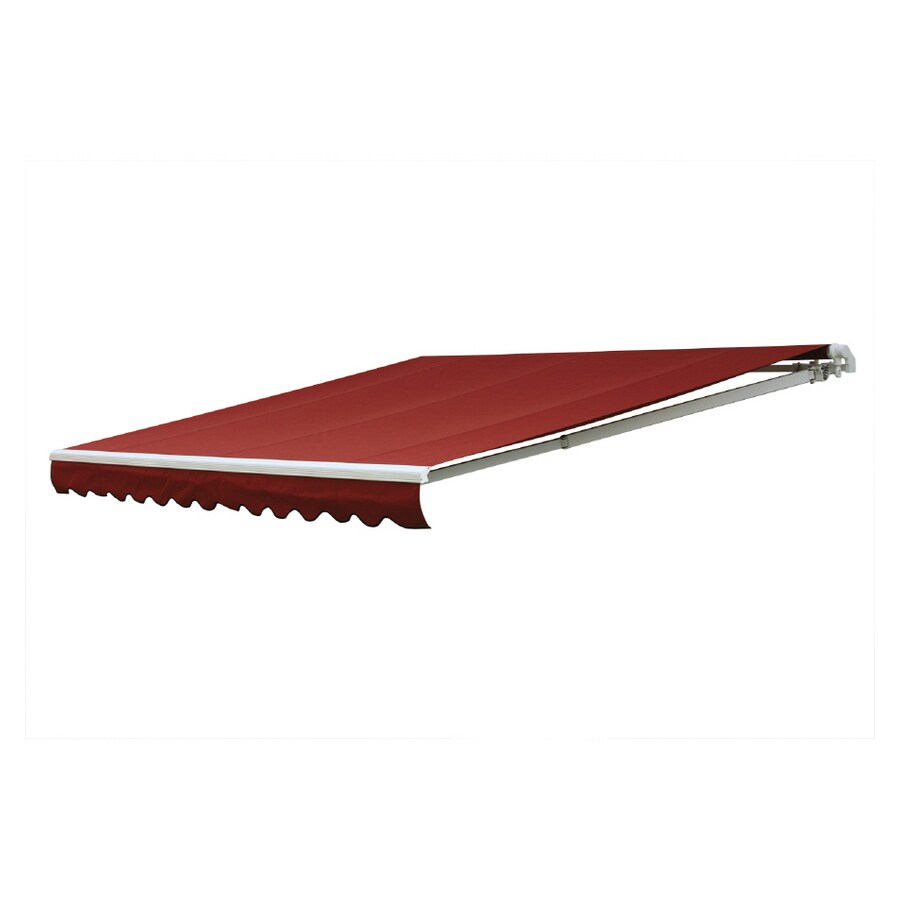 NuImage Awnings 144-in Wide x 120-in Projection Terra Cotta Solid Slope Patio Retractable Remote Control Awning