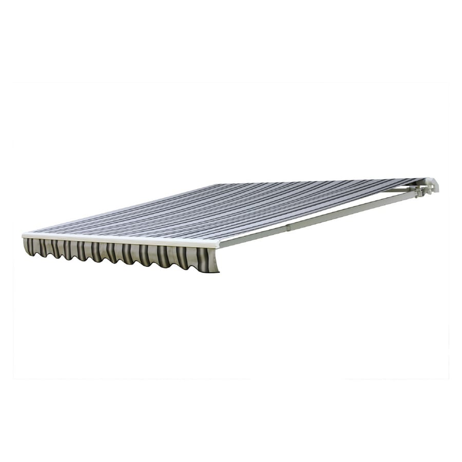 NuImage Awnings 168-in Wide x 120-in Projection Grey/Black/White Stripe Slope Patio Retractable Manual Awning