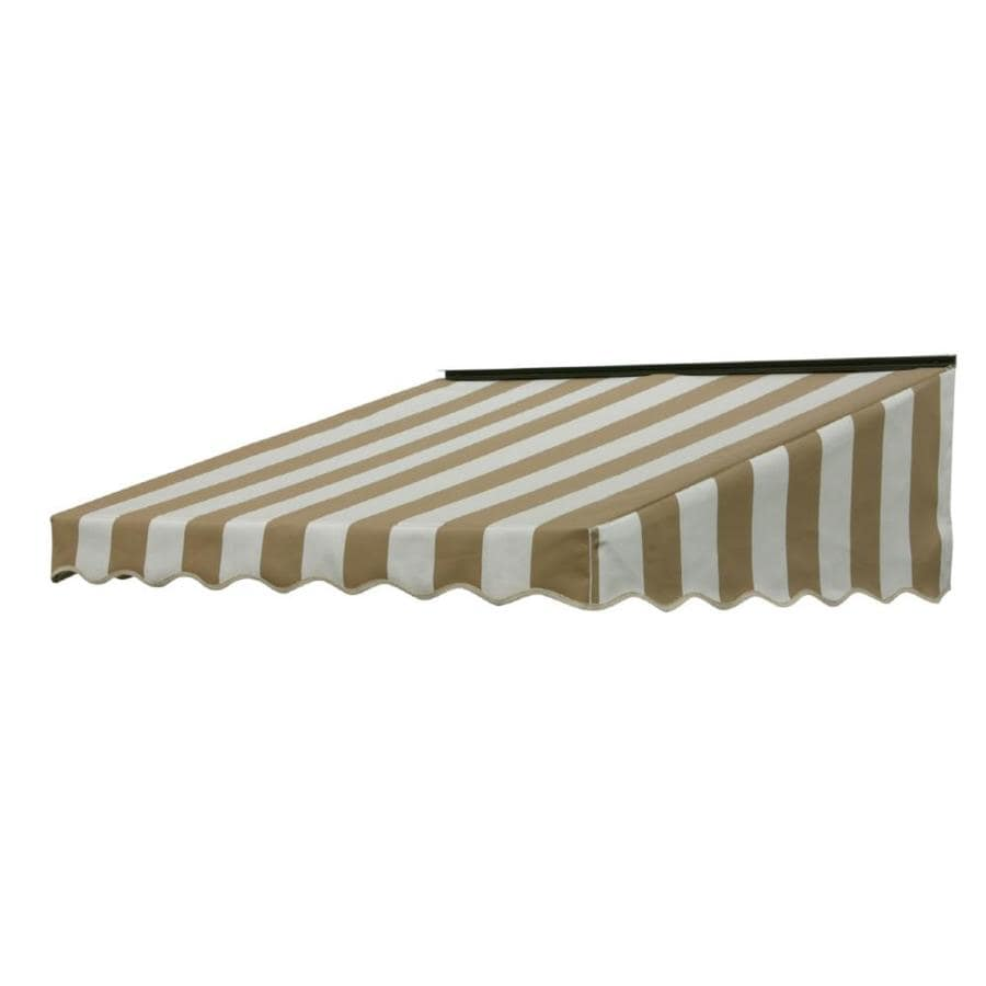 NuImage Awnings 46-in Wide x 41-in Projection Beige/White (5760) Stripe Slope Door Awning