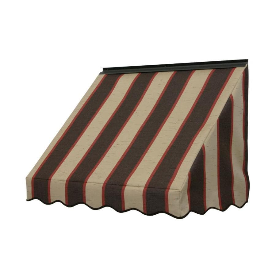 NuImage Awnings 42-in Wide x 18-in Projection Bisque Brown Stripe Slope Window Awning