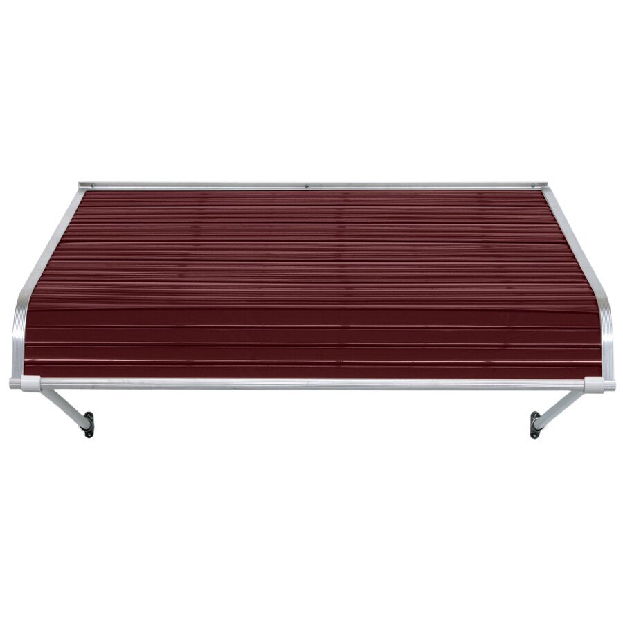 NuImage Awnings 36-in Wide x 54-in Projection Burgundy Open Slope Door Awning
