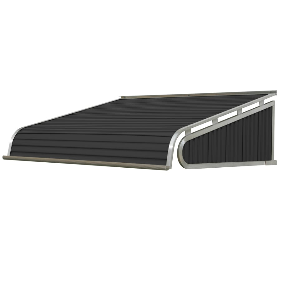 NuImage Awnings 84-in Wide x 24-in Projection Black Slope Door Awning