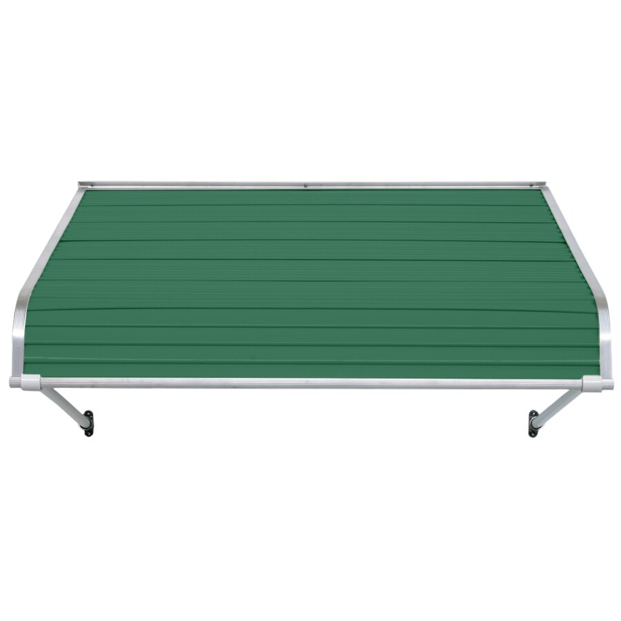 NuImage Awnings 60-in Wide x 24-in Projection Fern Green Open Slope Door Awning