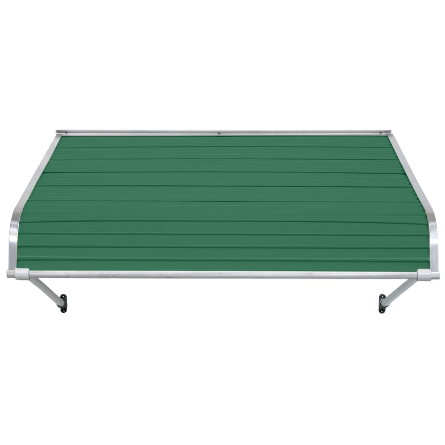NuImage Awnings 84-in Wide x 24-in Projection Fern Green Open Slope Door Awning