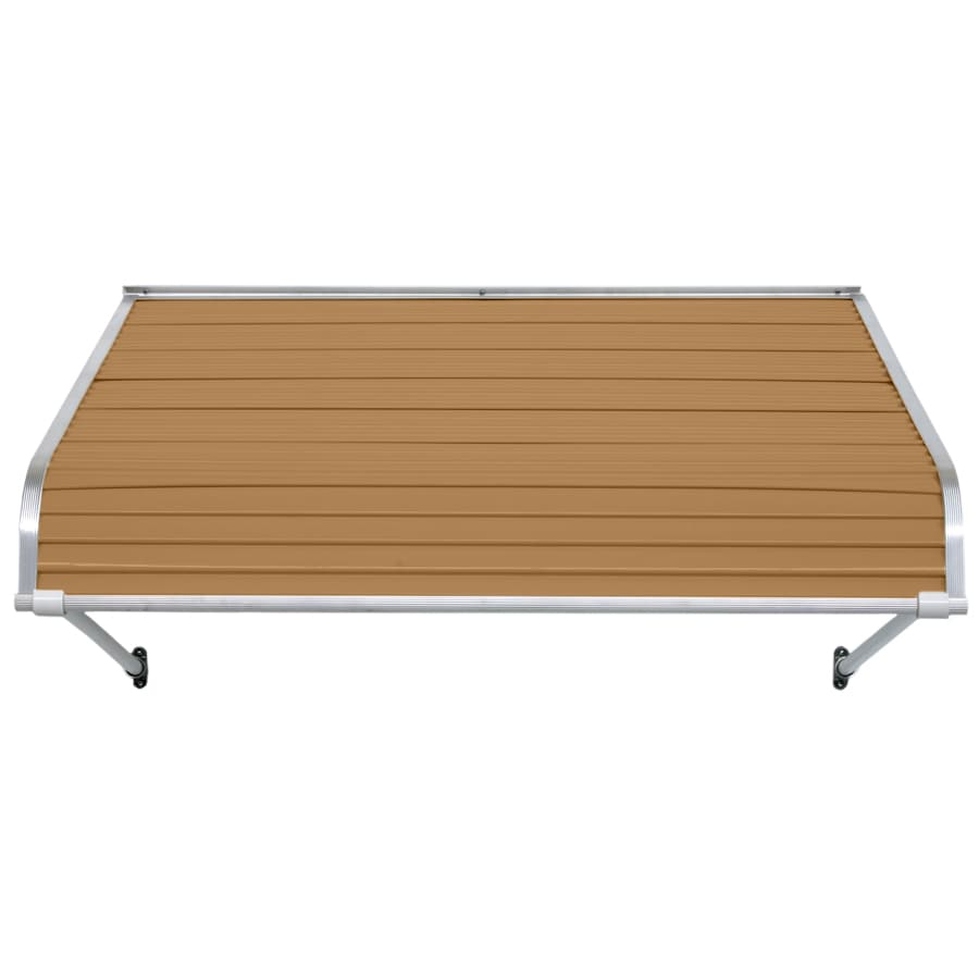 NuImage Awnings 96-in Wide x 24-in Projection Mocha Tan Open Slope Door Awning