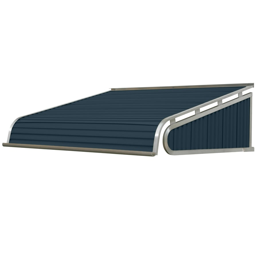 NuImage Awnings 84-in Wide x 30-in Projection Bedford Blue Solid Slope Door Awning
