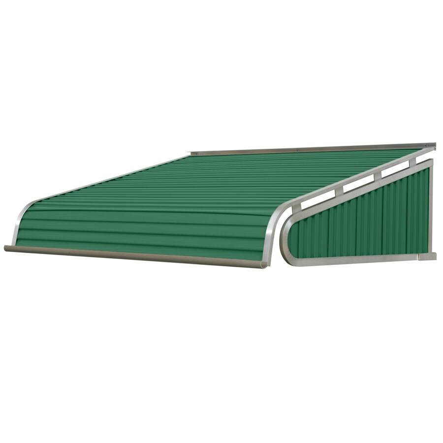 NuImage Awnings 96-in Wide x 30-in Projection Fern Green Solid Slope Door Awning