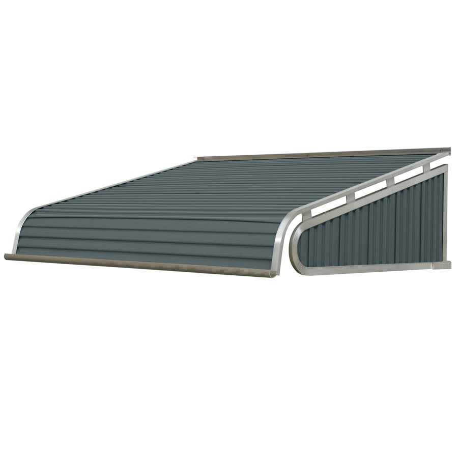 NuImage Awnings 96-in Wide x 30-in Projection State Blue Solid Slope Door Awning