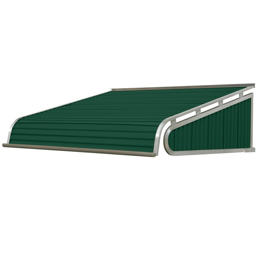 NuImage Awnings 84-in Wide x 36-in Projection Evergreen Solid Slope Door Awning