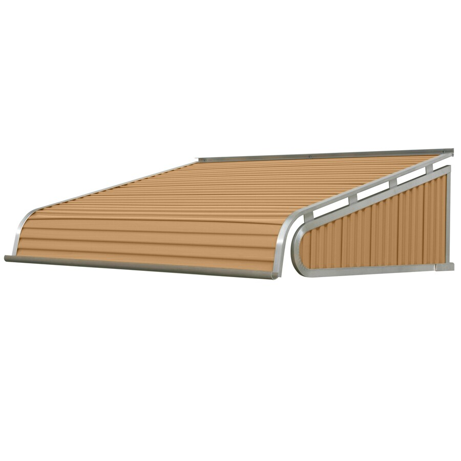 NuImage Awnings 48-in Wide x 48-in Projection Mocha Tan Solid Slope Door Awning