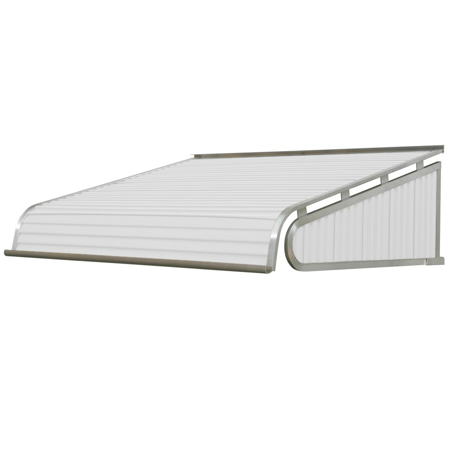 NuImage Awnings 96-in Wide x 54-in Projection White Solid Slope Door Awning