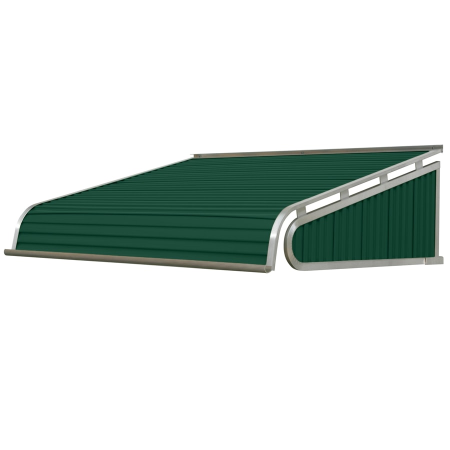 NuImage Awnings 84-in Wide x 60-in Projection Evergreen Solid Slope Door Awning