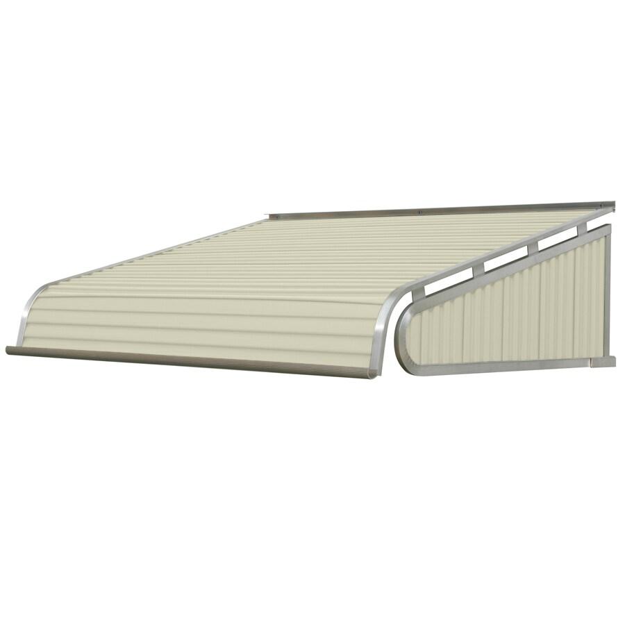 NuImage Awnings 96-in Wide x 60-in Projection Almond Solid Slope Door Awning