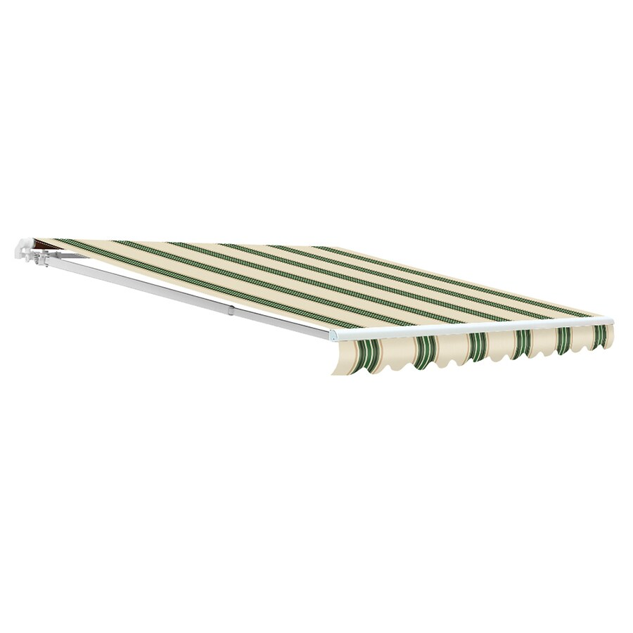 NuImage Awnings 120-in Wide x 96-in Projection Spruce Striped Open Slope Patio Retractable Motorized Awning
