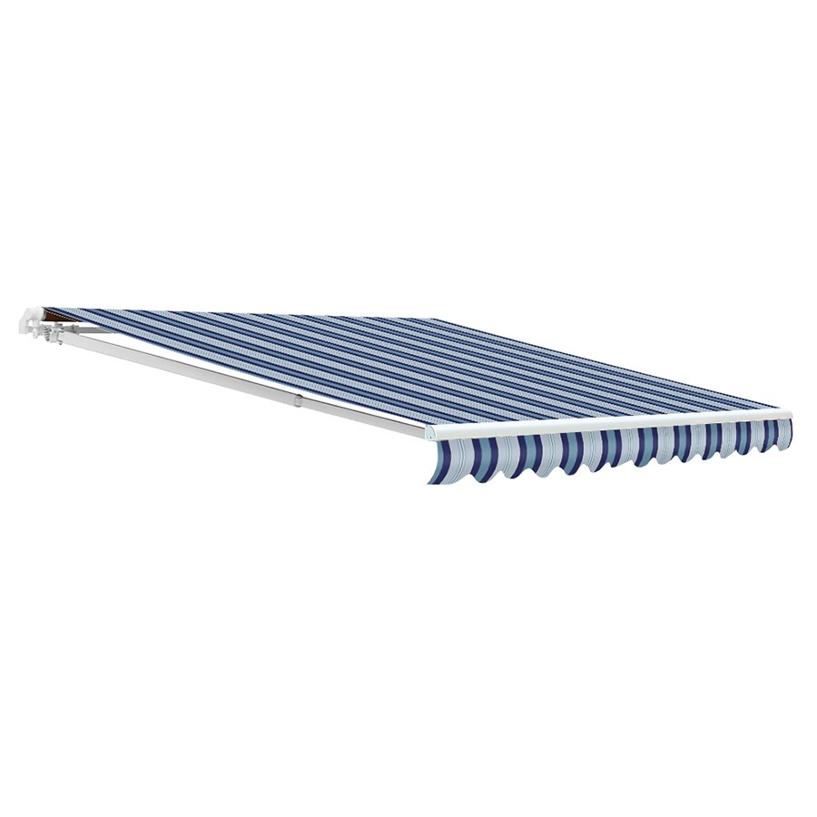 NuImage Awnings 144-in Wide x 96-in Projection Harbor Striped Open Slope Patio Retractable Motorized Awning