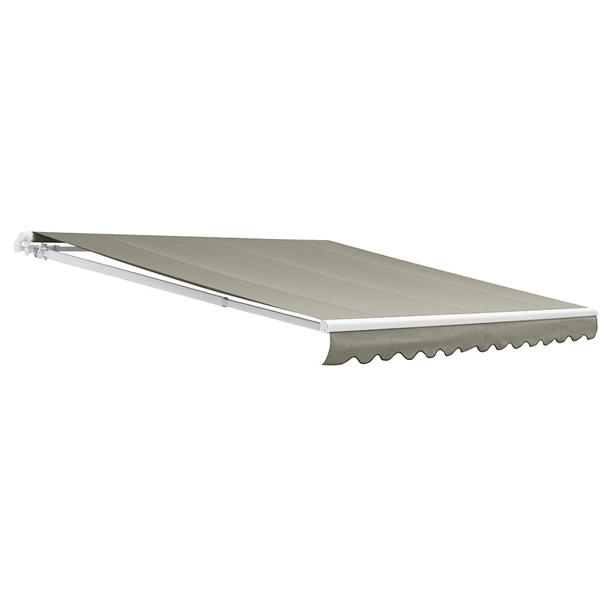 NuImage Awnings 144-in Wide x 120-in Projection Grey Solid Open Slope Patio Retractable Motorized Awning