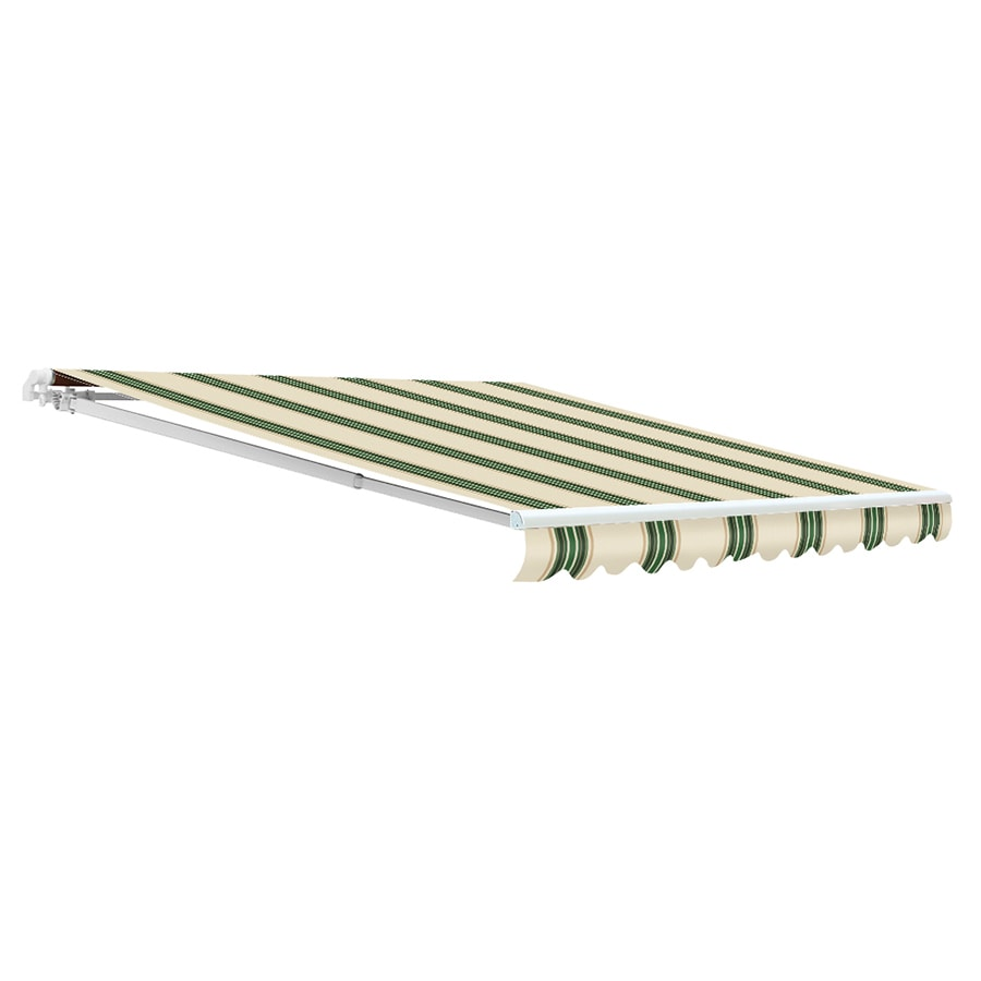 NuImage Awnings 156-in Wide x 120-in Projection Spruce Striped Open Slope Patio Retractable Motorized Awning