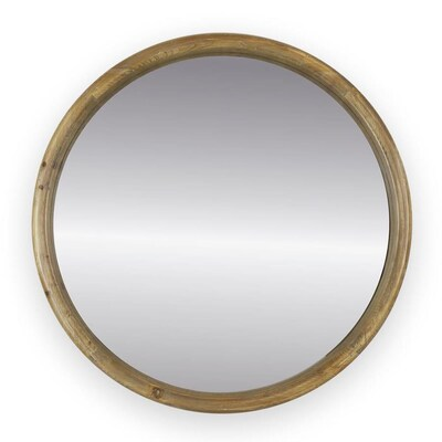 Allen Roth 24 In L X W Round Natural Wood Framed Wall Mirror