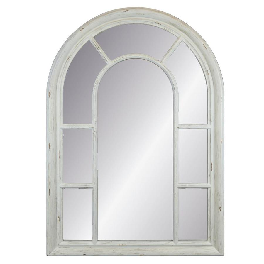 Enchante Distressed White Framed Arch Wall Mirror