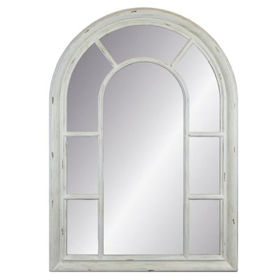 Allen Roth 40 In L X 29 W Arch Distressed White Framed Wall Mirror