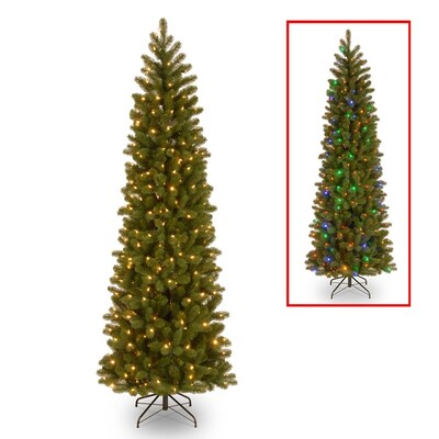 6.5-ft Pre-Lit Douglas Fir Slim Artificial Christmas Tree with 300  Multicolor LED Lights