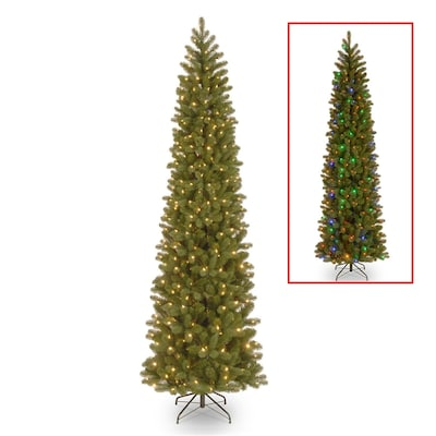 9 Ft Pre Lit Downswept Douglas Fir Pencil Slim Artificial Christmas Tree