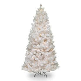 National Tree Pre-Lit 7-1/2 Wispy Willow Grande White Slim Hinged Artificial Christmas Tree with Silver Glitter and 500 Velvet Frost White Lights
