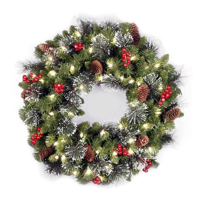 National Tree Company 24 In Pre Lit Outdoor Green Spruce Artificial Christmas Wreath With White Clear Incandescent In The Artificial Christmas Wreaths Department At Lowes Com