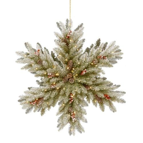 National Tree Company Green Lighted Snowflake Hanging in the Novelty Christmas Decorations ...
