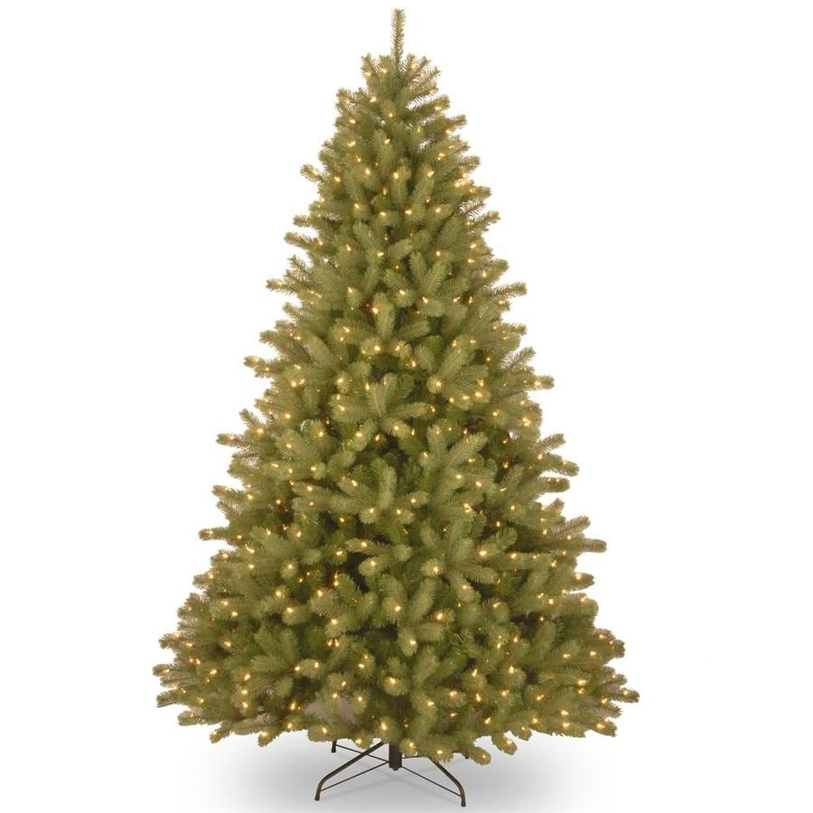 Real Christmas Trees Lowes: National Tree Company 7.5-ft Pre-Lit Lakewood Spruce