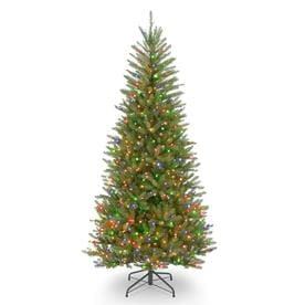 551f228de National Tree Company 7.5-ft Pre-Lit Dunhill Fir Slim Tree with Multicolor  Lights