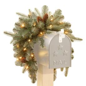 National Tree Company 36-in Frosted Arctic Spruce Mailbox Swag with Battery Operated Warm White