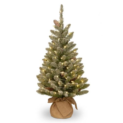 National Tree Company 3-ft Pre-Lit Flocked Artificial ...
