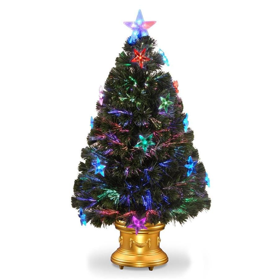 National Tree Company 36-in Pre-Lit Fiber Optic Fireworks Artificial Christmas Tree with Star Decorations
