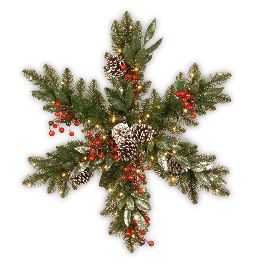 National Tree Company 32 In Pre Lit Outdoor Battery Operated Red Green Pine Artificial Christmas Wreath With White Warm Led Lights In The Artificial Christmas Wreaths Department At Lowes Com