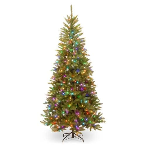 National Tree Company 7.5-ft Pre-Lit Slim Artificial ...
