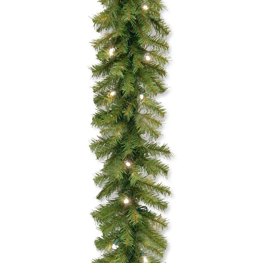 National Tree Company Outdoor Pre Lit 9 Ft Fir Garland With White Led Lights In The Artificial Christmas Garland Department At Lowes Com
