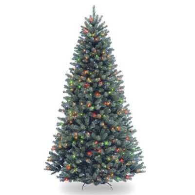 National Tree Company 7 5 Ft North Valley Spruce Pre Lit Blue Artificial Christmas Tree With 700 Constant White Clear Incandescent Lights In The Artificial Christmas Trees Department At Lowes Com