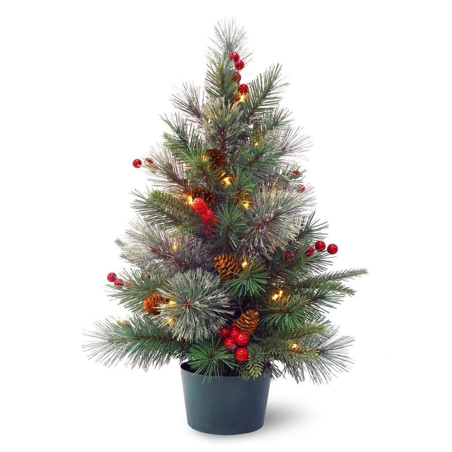 Real Christmas Trees Lowes: National Tree Company 2-ft Pre-Lit Colonial Potted Tree