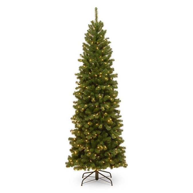 National Tree Company 7 5 Ft North Valley Spruce Pre Lit Slim Artificial Christmas Tree With 400 Constant White Clear Incandescent Lights In The Artificial Christmas Trees Department At Lowes Com