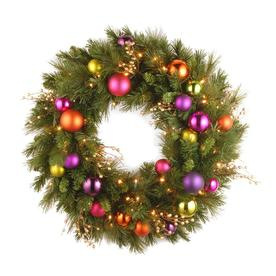 National Tree Company 30-in Pre-Lit Kaleidoscope Wreath with Battery Operated Warm White